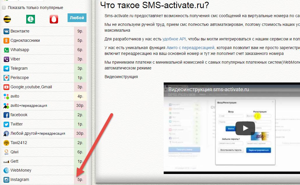 Виртуальные номера для приема и отправки смс