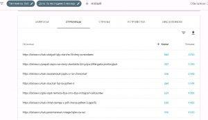 Страницы сайта, которые посещали с google. Статистика