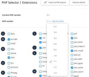 Выбор версии php на cpanel