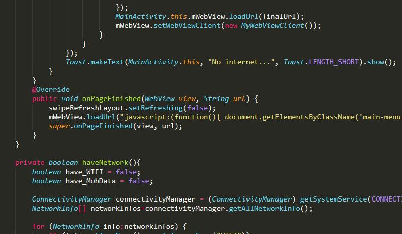 Как применить javascript код в приложении webview на java